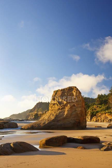 Rochers à marée basse sur la côte — Photo de stock