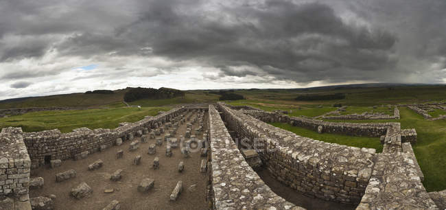 Домашние хозяйства Roman Fort On Hadrian 's Wall — стоковое фото