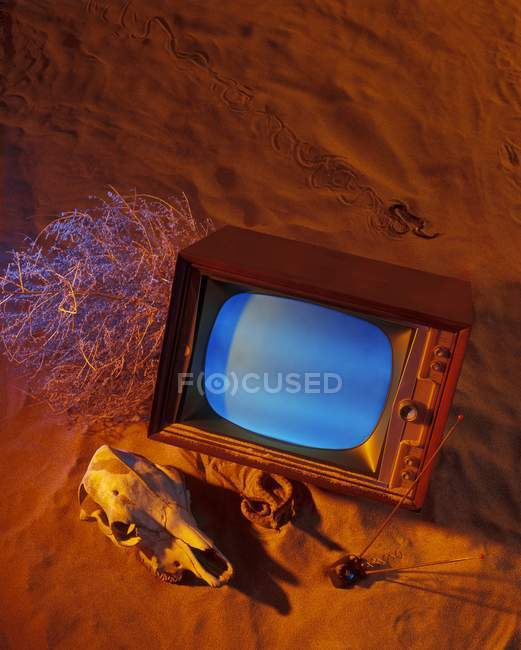 Old Tv Set On Sand With Skull — Stock Photo