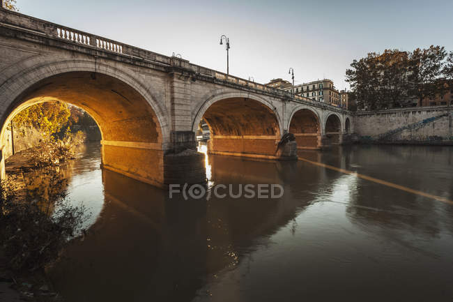 Bridge over river; Rome — Stock Photo
