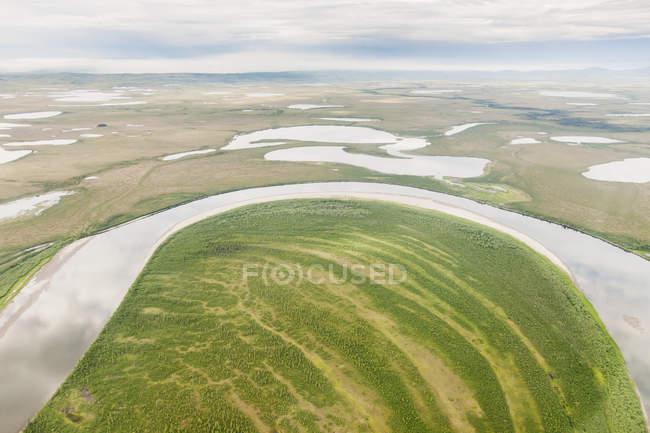 Vista aérea das zonas húmidas — Fotografia de Stock