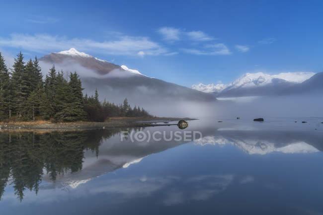 Туманное утро на озере — стоковое фото