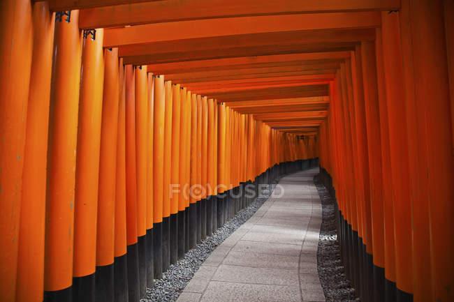 Portes torii rouges; Kyoto, Japon — Photo de stock