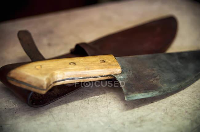 Un coltello posato su un supporto di cuoio; Pelotas, Rio Grande do Sul, Brasile — Foto stock