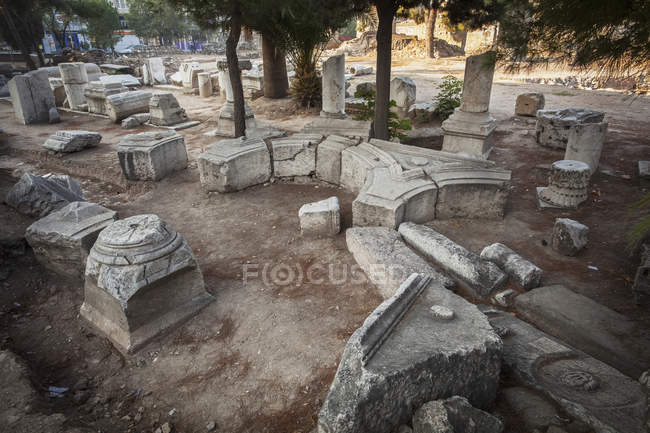 Stone ruins at biblical site — Stock Photo