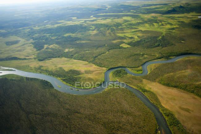 Vista aerea del fiume Naknek — Foto stock