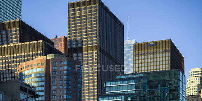 Numerous skyscrapers with facades — Stock Photo