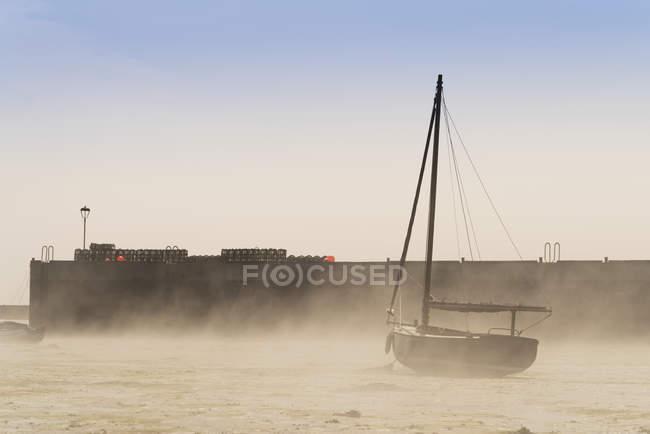 Souffle de vent du sable vers le haut sur la plage — Photo de stock