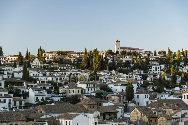Bellissimo tramonto nel quartiere di Albaicin — Foto stock
