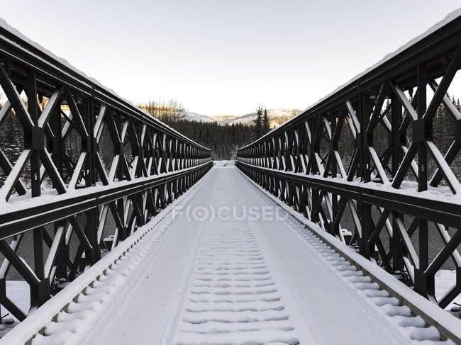 Puente estrecho cubierto de nieve - foto de stock