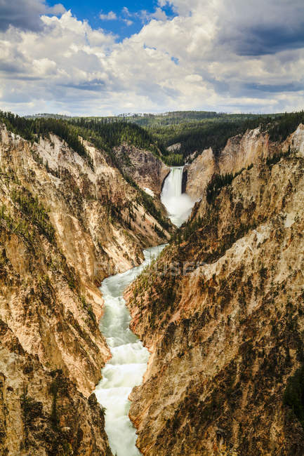 Grand Canyon and Lower Yellowstone Falls — Stock Photo