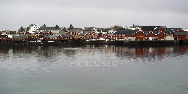 Red buildings in Norway — Stock Photo