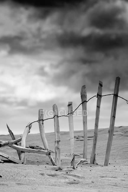 Broken Fence In Dune — Stock Photo