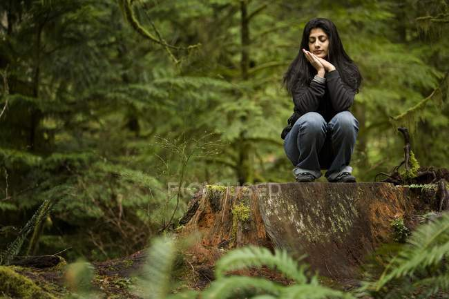 Young adult woman sitting on large stump in ancient green forest — Stock Photo