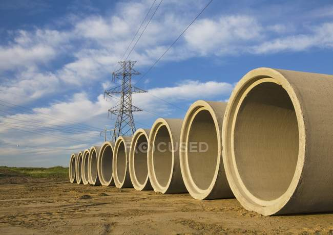 Sewer Pipes Ready To Be Installed — Stock Photo