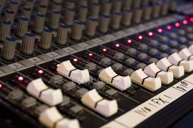 Mixing Console with settings and lights — Stock Photo