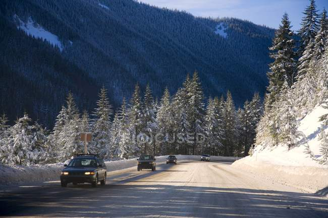 Cars Driving During The Winter — Stock Photo
