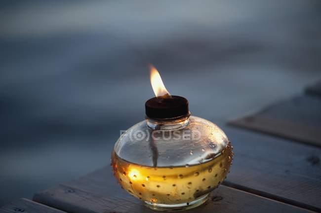Oil Candle Burning — Stock Photo