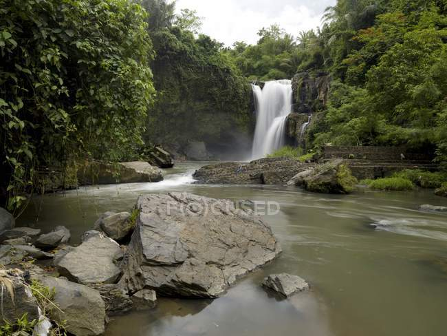 Waterfall Flowing Into River — Stock Photo