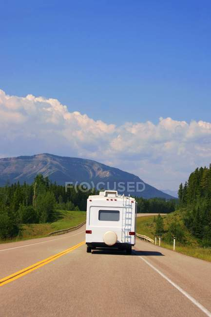 Recreational Vehicle Driving Down A Highway — Stock Photo
