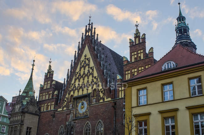 Astronomical Clock On The Old Town Hall In Market Square; Wroclaw, Lower Silesia, Poland — Stock Photo