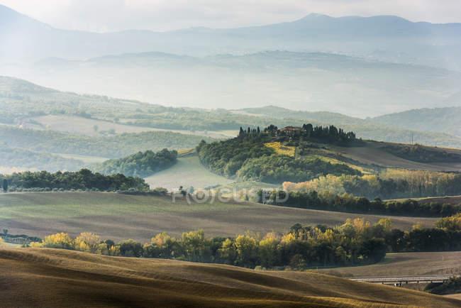 Vista del valle con árboles y colinas en el fondo durante el día - foto de stock