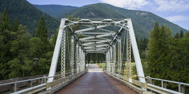 Vista Puente de en primer plano y árboles con laderas de montaña en primer plano - foto de stock
