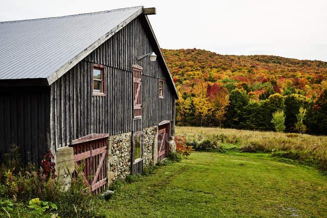 Fienile con una foresta colorata d'autunno; Dunham, Quebec, Canada — Foto stock