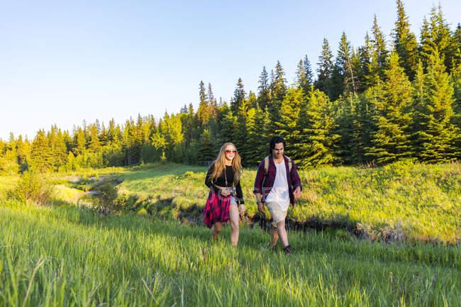 Glückliches Paar geht über Feld mit grünem Gras und Bäumen im Hintergrund — Stockfoto