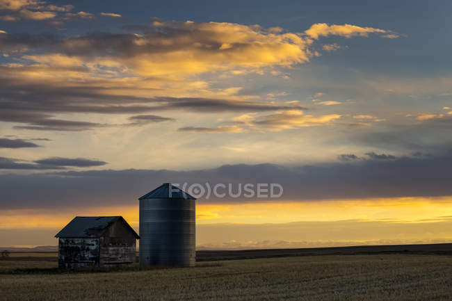Ein Gebäude aus Holz und Metall Korn Bin bei Sonnenuntergang mit bunten Wolken und blauer Himmel; Blackie, Alberta, Kanada — Stockfoto