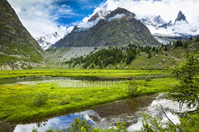 Lac de Combal et prairie verte dans le Val Veni avec des montagnes en arrière-plan, Alpes ; Vallée d'Aoste, Italie — Photo de stock