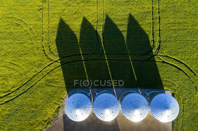 Directly above large metal grain bins in a green field of canola with long dramatic shadows across the field, East of Calgary; Alberta, Canada — Stock Photo