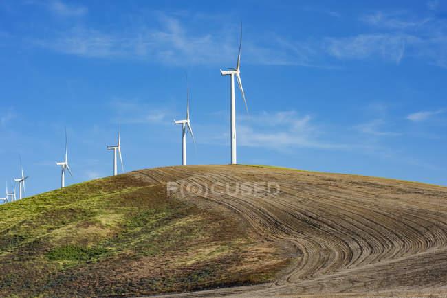 Éoliennes sur un champ labouré d'un agriculteur combinant énergie verte avec l'agriculture, est de Washington ; Dayton, Washington, États-Unis d'Amérique — Photo de stock