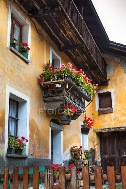 Edifício histórico com vasos de flores, Dolonne, perto de Courmayeur; Vale de Aosta, Itália — Fotografia de Stock
