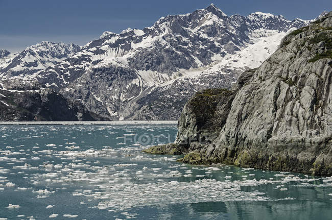 View West across mid Glacier Bay from tour boat Baranof Wind, Glacier Bay National Park and Preserve; Alaska, United States of America — Stock Photo