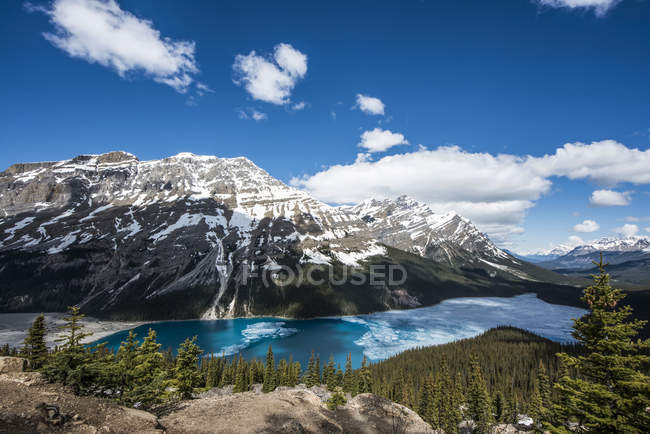 Peyto Lake with some ice on the turquoise water in the Canadian Rocky Mountains near Banff; Alberta, Canada — Stock Photo