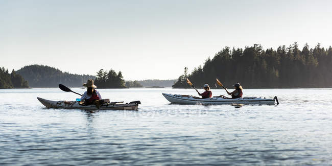 Kayaking in Clayoquot Sound, Vancouver Island, Tofino, British Columbia, Canada — Stock Photo