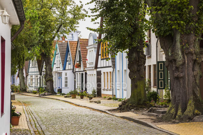 Residential street with rectangular paving stones and colourful house facades with terracotta rooftops, Warnemunde seaside resort in the district of Rostock; Rostock, Germany — Stock Photo