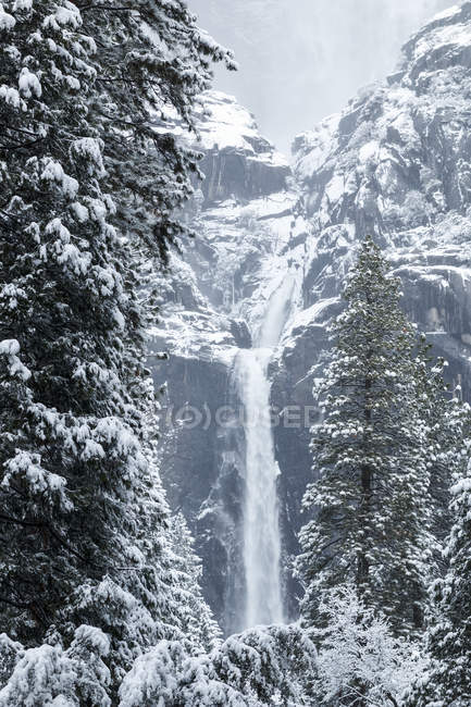 Yosemite fällt im Winter mit Schnee, Yosemite Valley, Yosemite Nationalpark; Kalifornien, Vereinigte Staaten von Amerika — Stockfoto