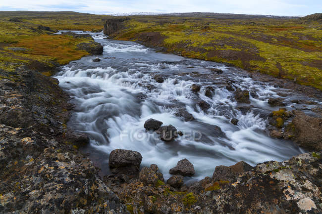 Autumn colours in the landscape with a river running through it; Djupavik, West Fjords, Iceland — Stock Photo