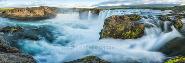 Panoramic image of Godafoss waterfall; Iceland — Stock Photo
