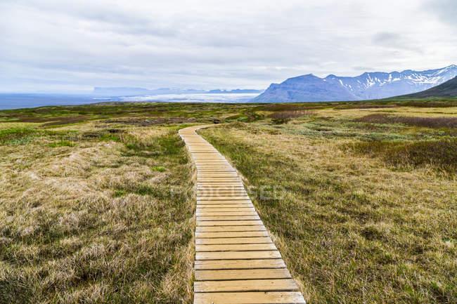 Paseo marítimo conduce los excursionistas a través de la ruta de senderismo en la meseta del Parque Nacional de Vatnajokull, Islandia - foto de stock