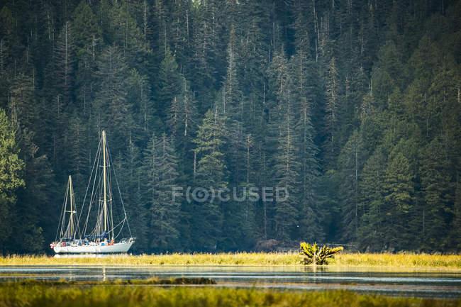 Sailboat in an estuary, Great Bear Rainforest; Hartley Bay, British Columbia, Canada — Stock Photo