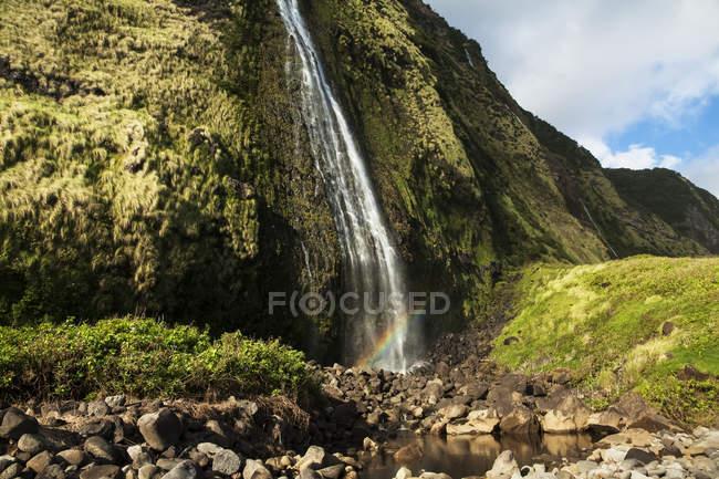 Vista panorámica de la cascada de Punlulu, Valle de Lapahoehoe Nui, Costa de Hamakua, isla de Hawai, Hawai, Estados Unidos - foto de stock