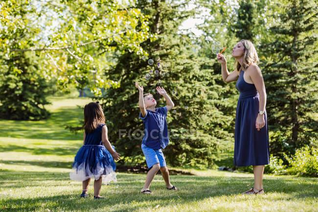 Мать, мыльные пузыри для детей во время в парке — стоковое фото
