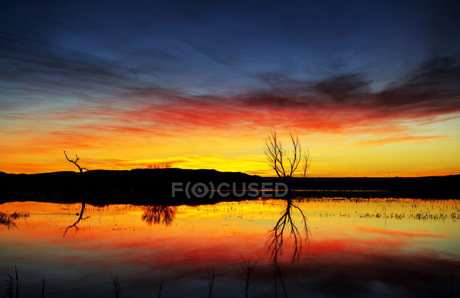 Dramatic sunrise over water, Bosque Del Apache Wildlife Refuge, New Mexico, United States of America — Stock Photo