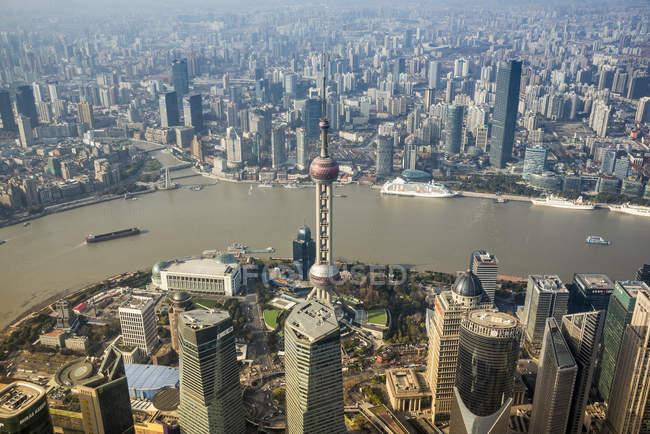 Пташиного польоту Pudong, Шанхай, Китай — стокове фото