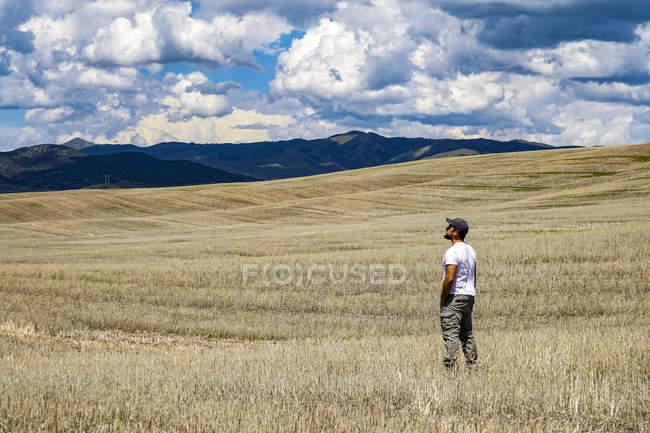 Hombre de pie en un campo de granja inmensa y mirando la montaña, Utah, Usa - foto de stock