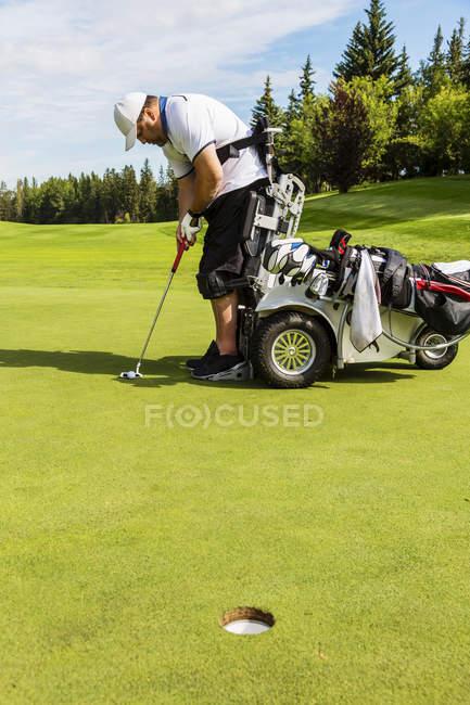 Ein körperbehinderter golfer, der seinen schlag aufstellt, bevor er einen ball auf ein golfgrün setzt und einen speziellen hydraulischen rollstuhl mit golfunterstützung benutzt, edmonton, alberta, canada — Stockfoto