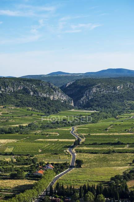 Краєвид долини, де знаходиться місто Тотавель, в оточенні виноградників, у Піренеях-Руссільйон Франції, Тотавель, Лангедок, Франція — стокове фото